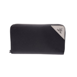 Prada Saffiano Round Fastener Wallet  Saffiano Leather Wallet Black