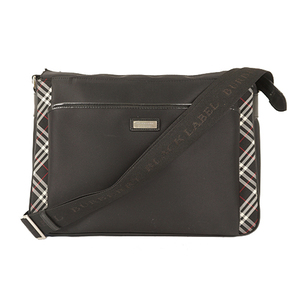 Auth BURBERRY BLACK LABEL Shoulder Bag Nylon Black Silver