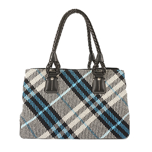 Auth Burberry Tote Bag Wool Black White Blue