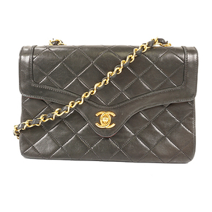 Auth Chanel Matelasse Chain Shoulder bag lumb skin Black Gold