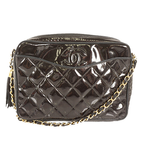 Auth Chanel Matelasse chain shoulder bag Single Chain gold enamel fringe black