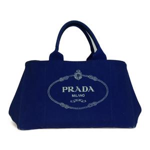 Auth Prada Canapa BN1872 Tote Bag Blue
