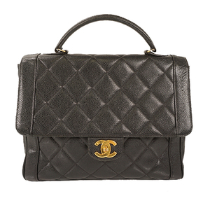 Auth Chanel hand bag Matelasse Caviar Skin Black Gold