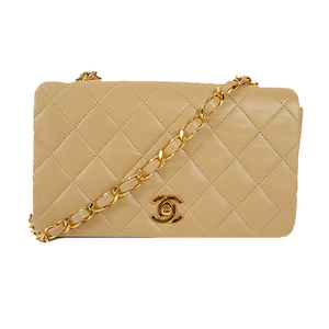 Auth Chanel Matelasse Chain Shoulder bag lumb skin Beige Gold