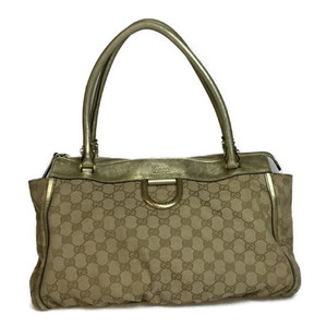 Auth Gucci 189831 GG Canvas Tote Bag Beige,Gold