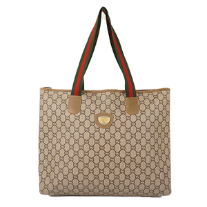 Auth Gucci Tote Bag Sherry GG plus Beige gold