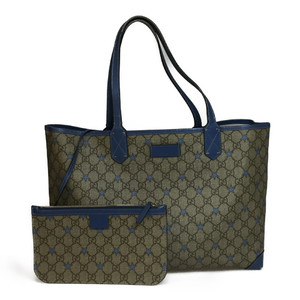 Auth Gucci 309498 GG PVC Tote Bag star Brown Light Blue