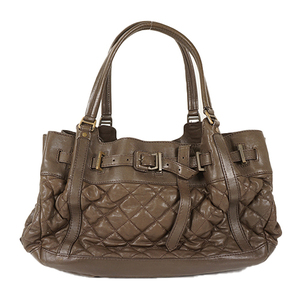 Auth Burberry Tote Bag leather Brown gold
