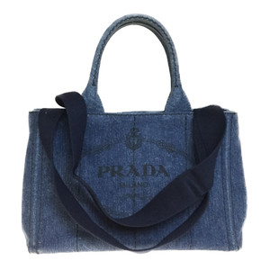 Auth Prada Canapa 1BG439 Denim Tote Bag Shoulder Bag 2way Blue