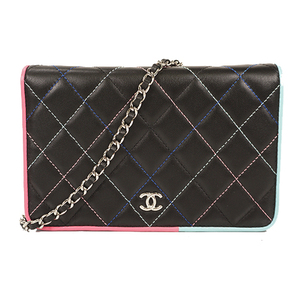 Auth Chanel Matelasse Chain Wallet Single Chai lumb skin Beige Silver