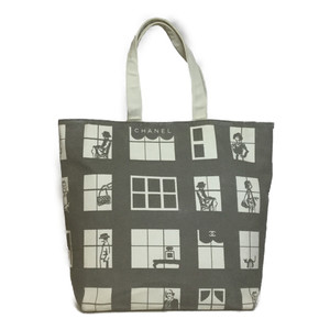 Auth Chanel Windows Line Canvas Tote Bag Gray