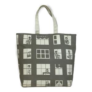 シャネル(Chanel) ウィンドウズライン キャンバス トートバッグ グレー
