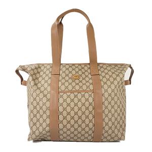 Auth Gucci Boston Bag GG Supreme Beige Gold