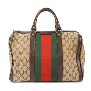 Auth Gucci Boston Bag Sherry Line GG Canvas Beige Silver