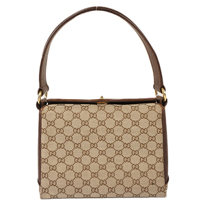 Auth Gucci Hand Bag GG Canvas Beige Gold