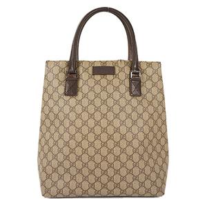 Auth Gucci Tote Bag GG Supreme Beige Silver hardware