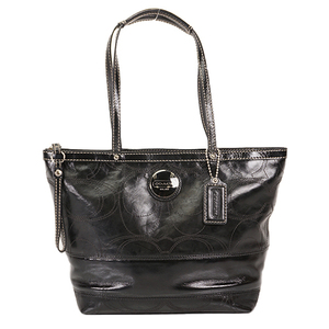 Auth Coach Tote Bag Signature Black Silver