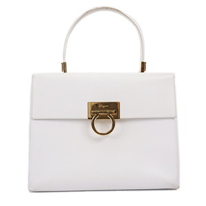 Auth Salvatore Ferragamo Hand Bag Gancini White Gold