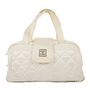 Auth Chanel Handbag Nylon White Silver