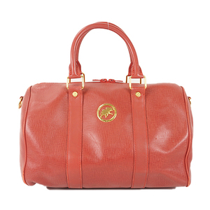 Auth Hunting World Handbag Leather Red Gold