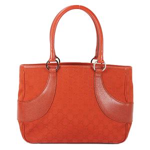 Auth Gucci Tote Bag GG Canvas Red Silver