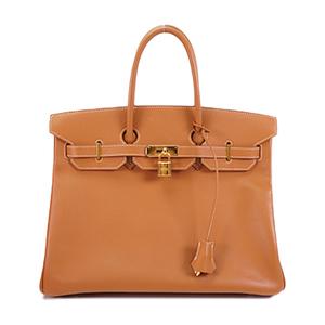 Auth Hermes Birkin 35 Handbag □K Gold