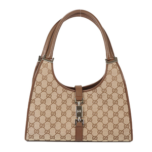 1ebb22316c06 Auth Gucci Shoulder Bag Jackie GG Canvas Beige Silver 01719