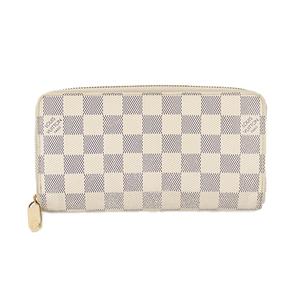 Auth Louis Vuitton Long Wallet Damier Azur Zippy Walle N41660