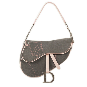 Auth Christian Dior Saddle Bag Handbag Gray,Pink