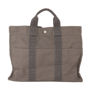 Auth Hermes Her Line MM Tote Bag Gray
