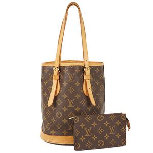 Auth Louis Vuitton Baguette Bag Monogram Petit Bucket M42238