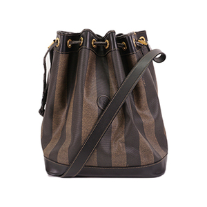 Auth Fendi Shoulder Bag Pequin Black,Khaki