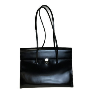 Auth Furla Leather Tote Bag Black