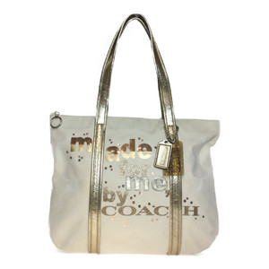 Auth Coach POPPY 14979 Canvas Tote Bag Beige,Gold
