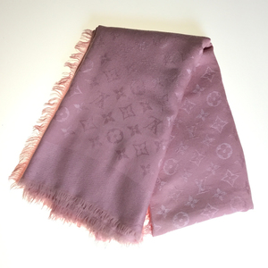 Auth Louis Vuitton Monogram M72046 Silk Wool Shawl Pink