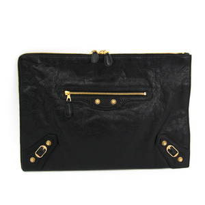 Balenciaga Giant 370994 Women's Leather Clutch Bag Black
