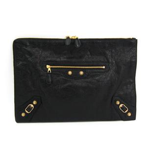 Balenciaga Giant 370994 Women's Leather Clutch Bag Black