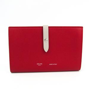 セリーヌ(Celine) ストラップラージマルチファンクション 104873 レディース レザー 長財布(二つ折り) レッド,グレージュ