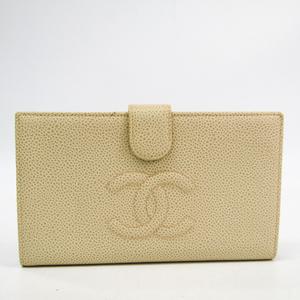 シャネル(Chanel) レディース  キャビアスキン 長財布(二つ折り) アイボリー