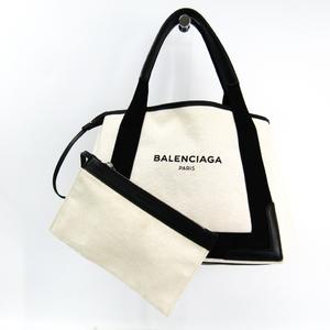 バレンシアガ(Balenciaga) ネイビーカバスS 339933 ユニセックス キャンバス,レザー トートバッグ ブラック,アイボリー