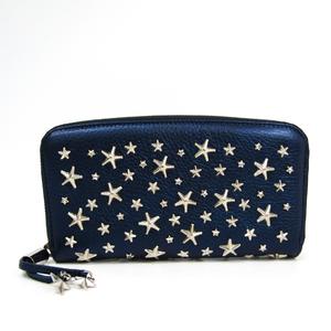 Jimmy Choo FILIPA Women's Leather Long Wallet (bi-fold) Navy