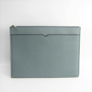 Valextra V6A82 Men's Leather Clutch Bag Light Blue