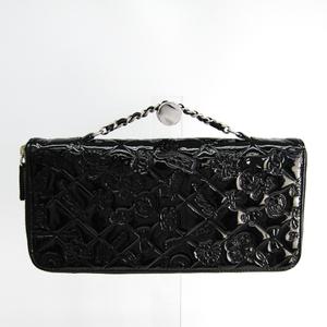 Chanel Icon Travel Case Women's Patent Leather Chain/Shoulder Wallet Black