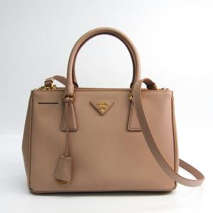 Prada BN1801 Women's Saffiano Lux Handbag Pink Beige