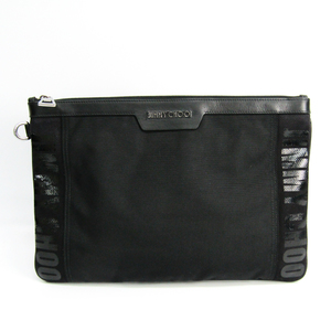 Jimmy Choo DEREK Men's Canvas,Nylon Clutch Bag Black