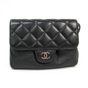 シャネル(Chanel) マトラッセ レディース レザー ポーチ ブラック
