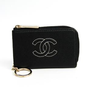 シャネル(Chanel) ココマーク レディース  キャビアスキン 小銭入れ・コインケース ブラック