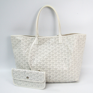 Goyard Saint Louis Saint Louis PM Leather,Canvas Tote Bag White