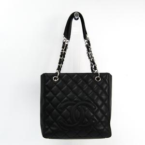シャネル(Chanel) キャビア・スキン プチ・ショッピング トート PST A20994 レザー トートバッグ ブラック