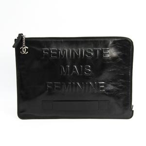 シャネル(Chanel) FEMINISTE MAIS FEMININE ユニセックス レザー クラッチバッグ ブラック